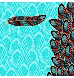 Decorative background with feather border vector image vector image