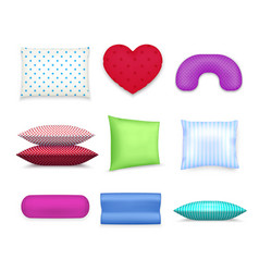pillows cushions colorful realistic set vector image vector image