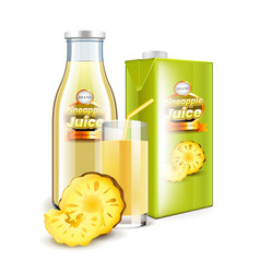 pineapple juice in glass bottle and packaging 3d vector image vector image