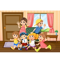 Children running around the room vector image vector image