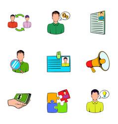 companionship icons set cartoon style vector image vector image
