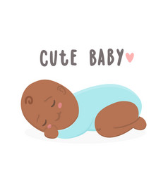 cute black new boy baby boy vector image vector image