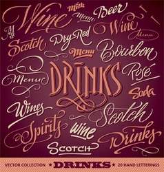 Drinks menu headlines set vector