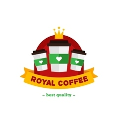 flat modern coffee shop or cafe logo vector image