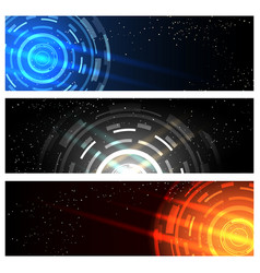 futuristic technology banner set vector image vector image