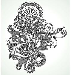 Hand draw line art ornate flower design ukrainian vector