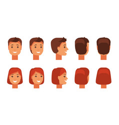set of human faces vector image vector image