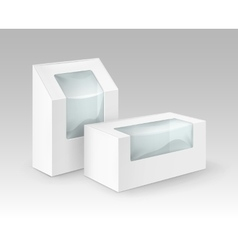 Set of white blank cardboard take away boxes vector