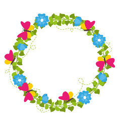 spring wreath with flowers and butterflies vector image