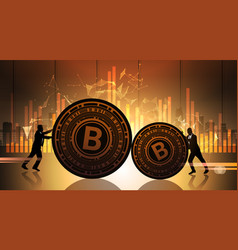two business men push bitcoin over statistic data vector image vector image
