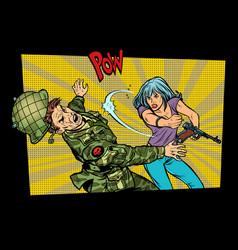 woman vs man civil beats invader military soldier vector image