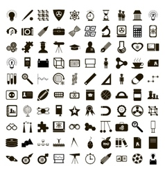 100 education icons set simple style vector image