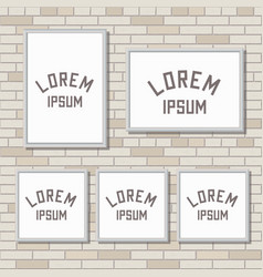 5 mock up frames on light brick wall vector image