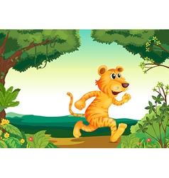 A tiger running along forest vector