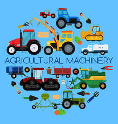 Agricultural vehicle farm equipment machines vector