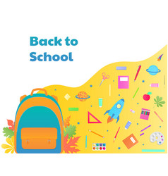 back to school backpack with study supplies vector image
