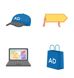 baseball cap pointer in hands laptop shopping vector image