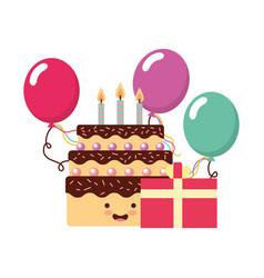 birthday kawaii cake gift balloons party vector image