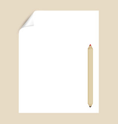 blank paper page with pencil empty page template vector image