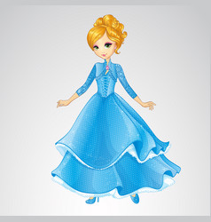 Blonde Princess In Blue Fashion Dress vector image