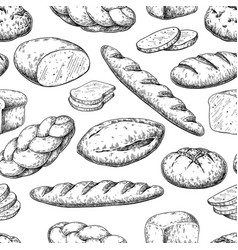 Bread seamless pattern drawing bakery vector