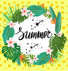 bright summer poster with exotic plants and vector image