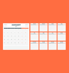 Calendar planner for 2021 year week starts on vector