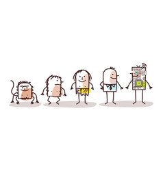 Cartoon funny male characters and human evolution vector
