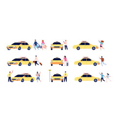 characters and taxi person car passengers and vector image