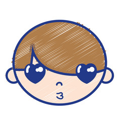 Child boy face with hairstyle design vector