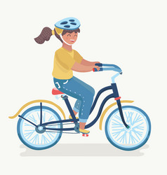 child girl riding bike vector image