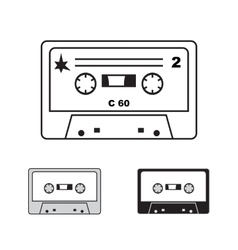 Compact audiocassettes on white background vector image
