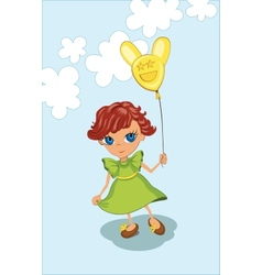 Cute girl holding balloon vector image