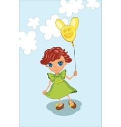 Cute girl holding balloon vector