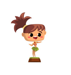 Cute hawaiian girl dancing hula in traditional vector
