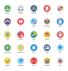 Data transfer flat icons pack vector