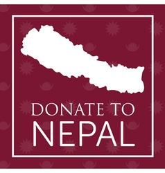 Deep red donate to nepal banner with map and nepal vector