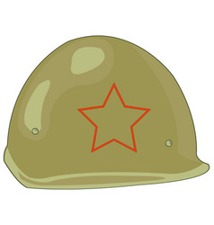 Defensive helmet soviet soldier on white vector
