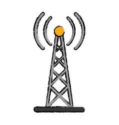 Drawing radio antenna transmission mast vector