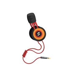 Earphones with headband and adapter cord music vector