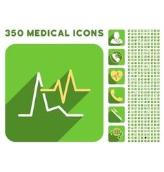 ECG Icon and Medical Longshadow Icon Set vector image