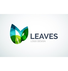 Eco leaves logo design made of color pieces vector image
