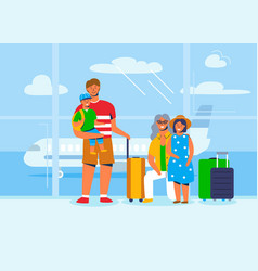 family characters on vacation travel at airport vector image