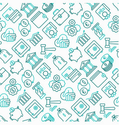 Finance seamless pattern with thin line icons vector