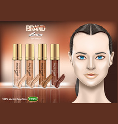 Foundation creams set ads with nice brunette vector