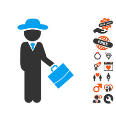 Gentleman manager icon with love bonus vector