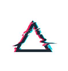 Glitch distortion frame triangle vector
