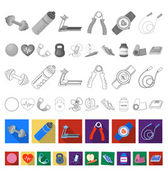 Gym and training flat icons in set collection for vector