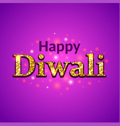 happy diwali glitter text on purple background vector image