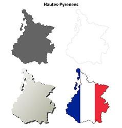 Hautes-Pyrenees Midi-Pyrenees outline map set vector